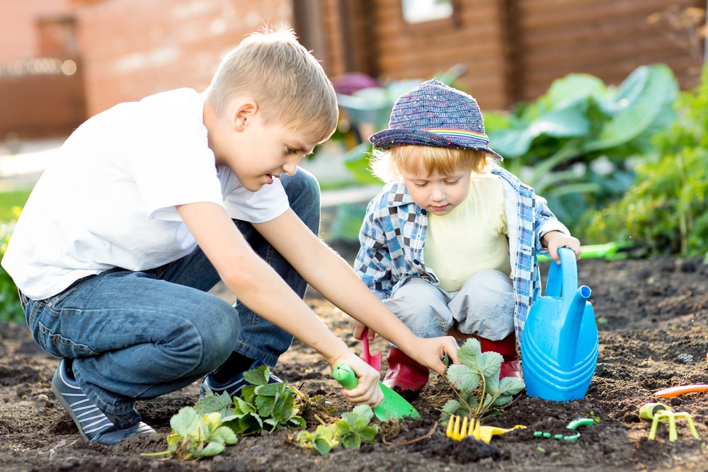 Kids Planting Garden on Earth Day